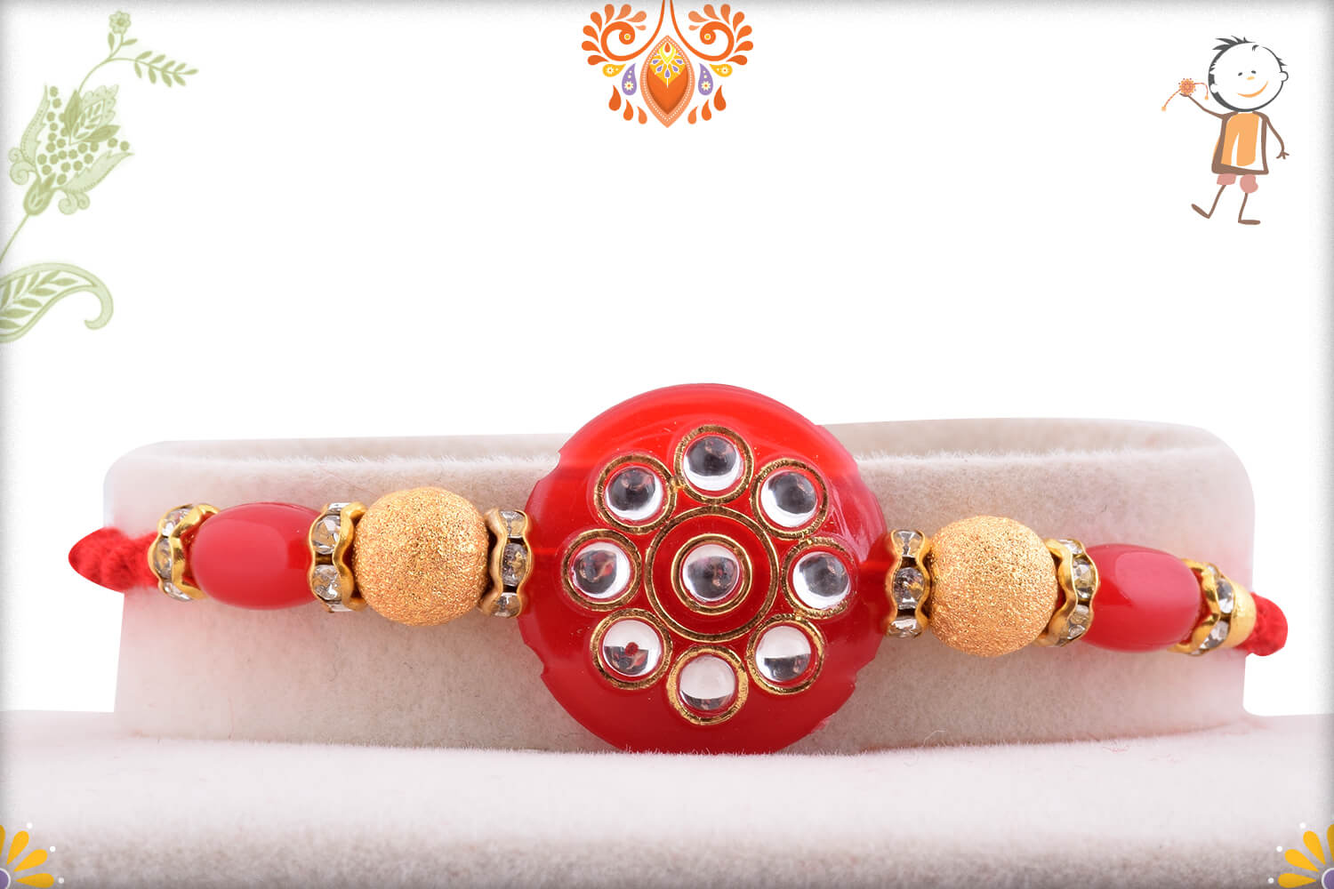 Antique Red Marble and Kundan Rakhi With Gold Pearl Beads 1