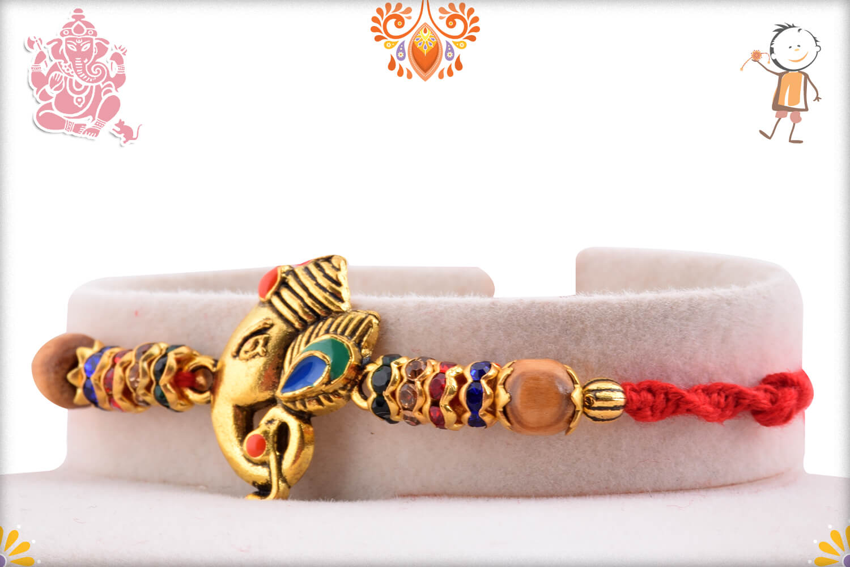 Antique Metalique Finish Ganesha Mukharvind Rakhi 2