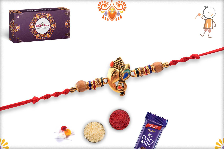 Antique Metalique Finish Ganesha Mukharvind Rakhi 3