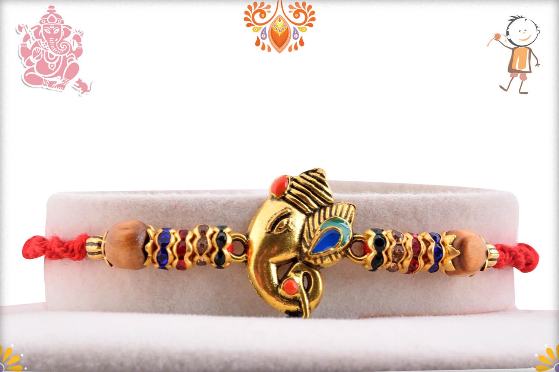 Antique Metalique Finish Ganesha Mukharvind Rakhi 1