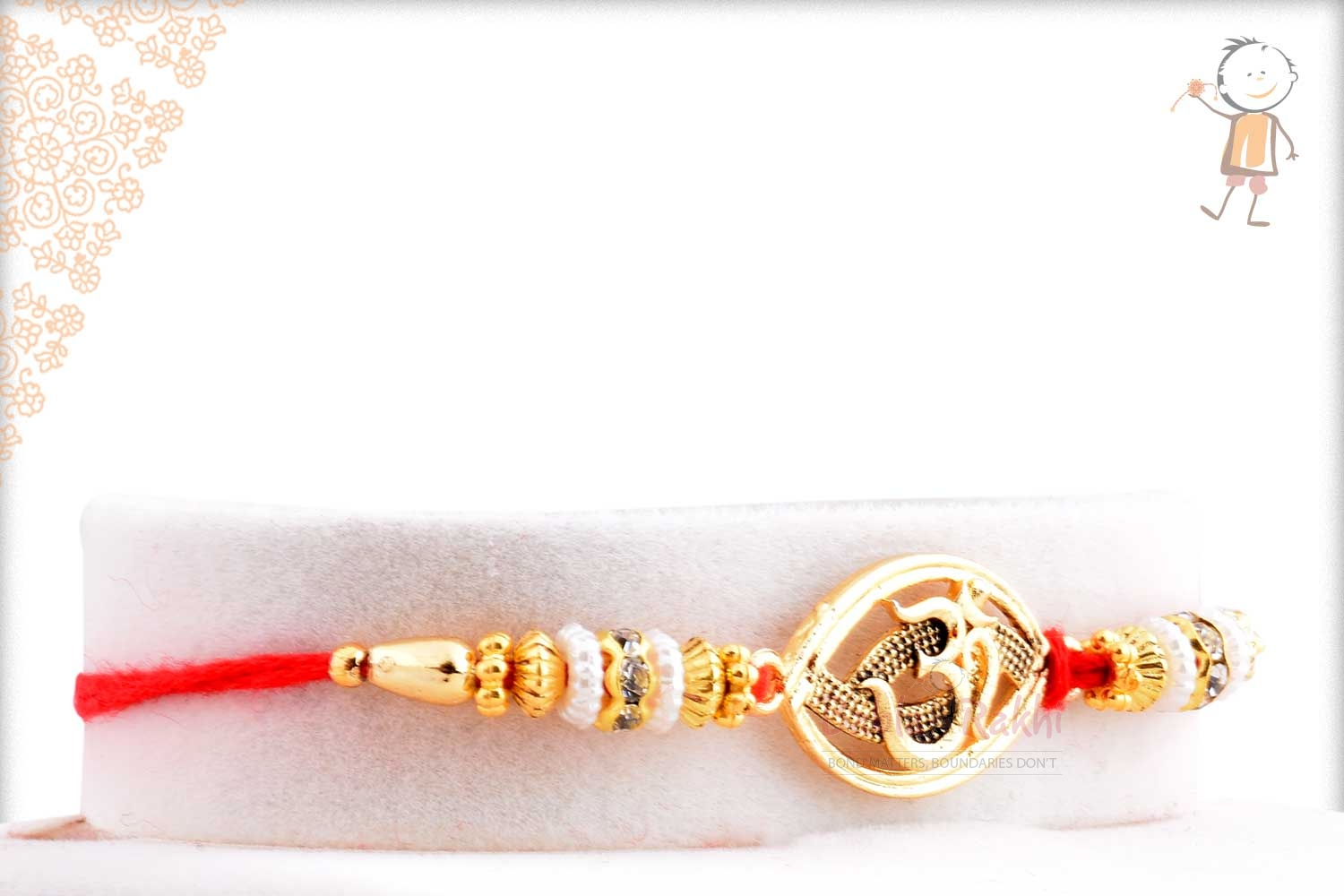 Exclusive Oval OM Rakhi with Beads 2