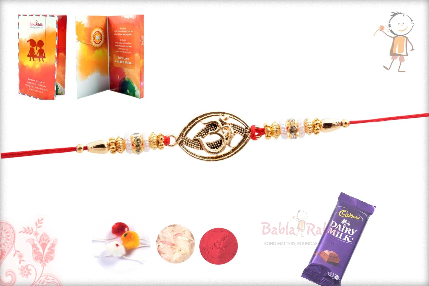 Exclusive Oval OM Rakhi with Beads 3