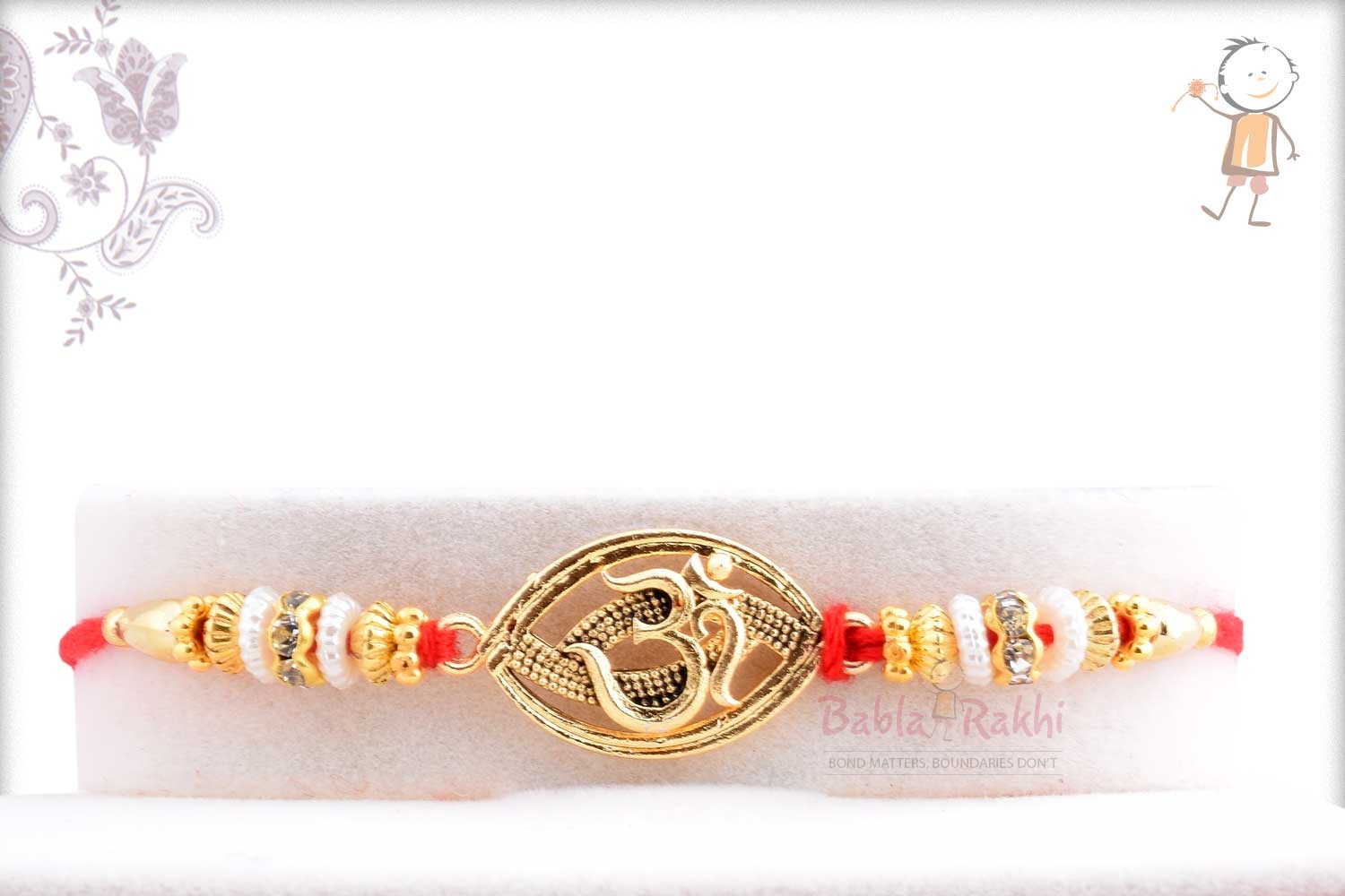 Exclusive Oval OM Rakhi with Beads 1