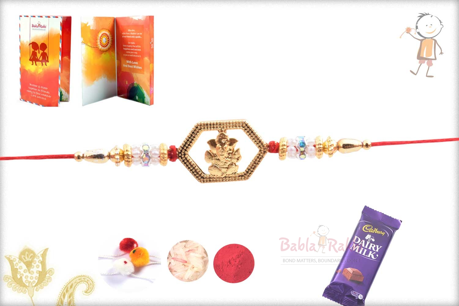 Exclusive Hexagon Ganeshji Rakhi with Beads 2