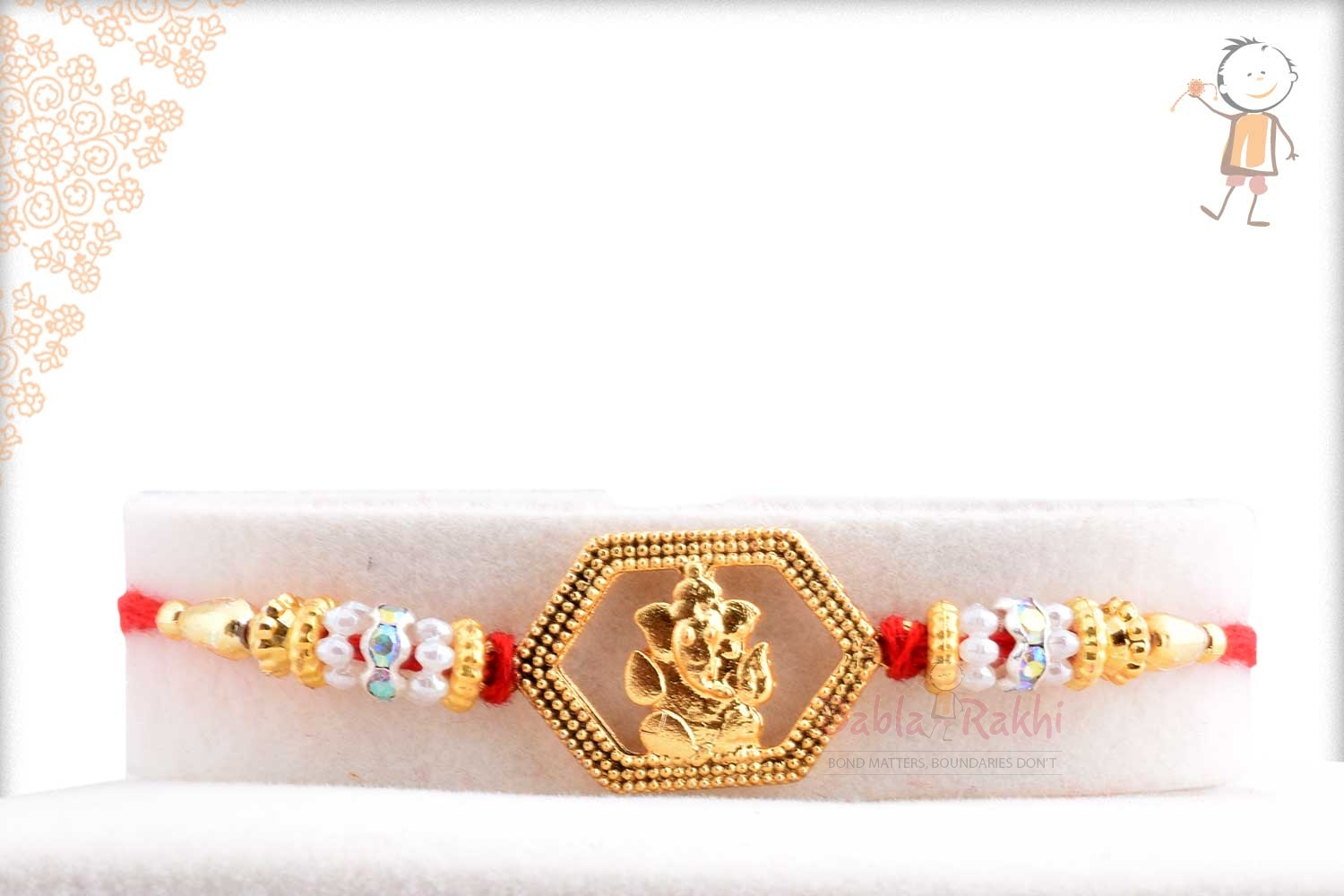 Exclusive Hexagon Ganeshji Rakhi with Beads 1