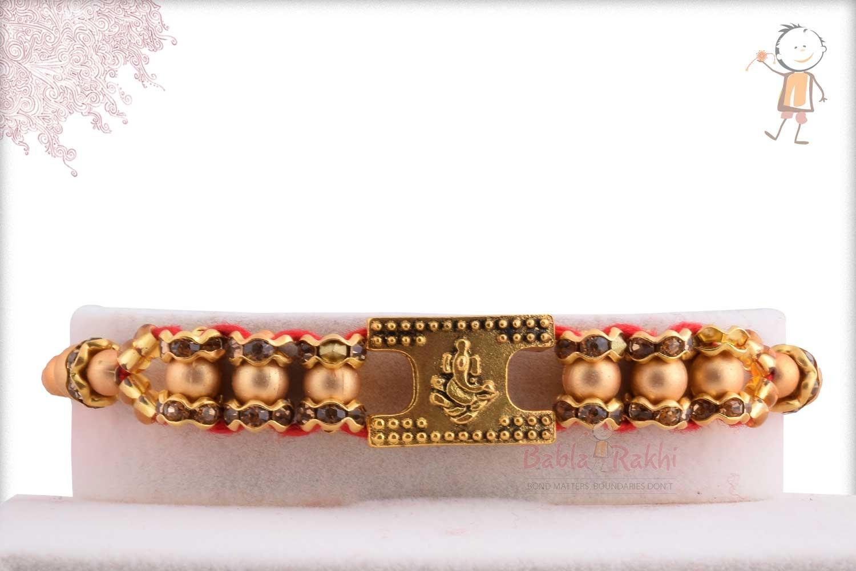 Exclusive Ganpati Rakhi with Golden Beads 1