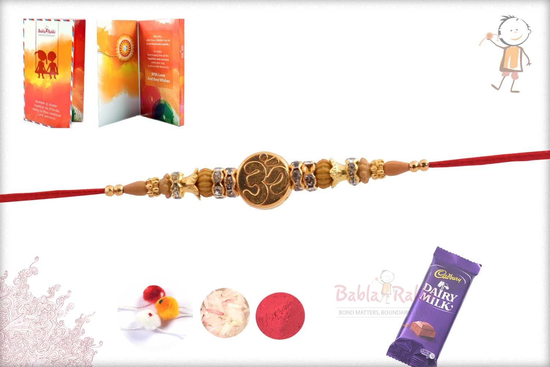 Exclusive Golden OM Rakhi with Diamond Rings 2