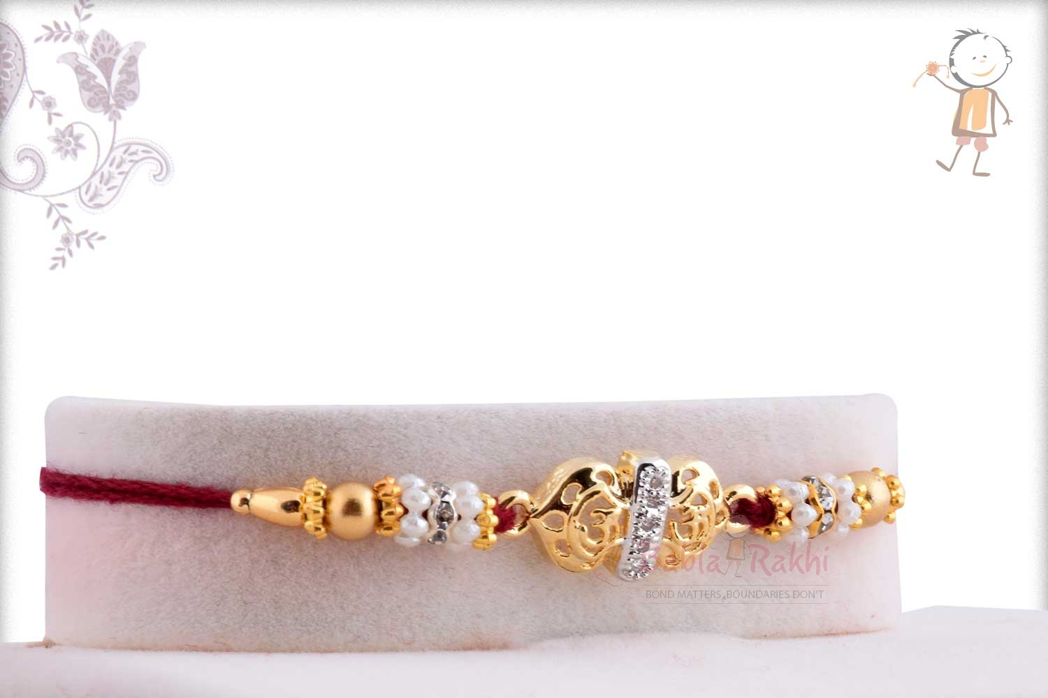 Exclusive Golden OM Rakhi with Pearl Rings 2