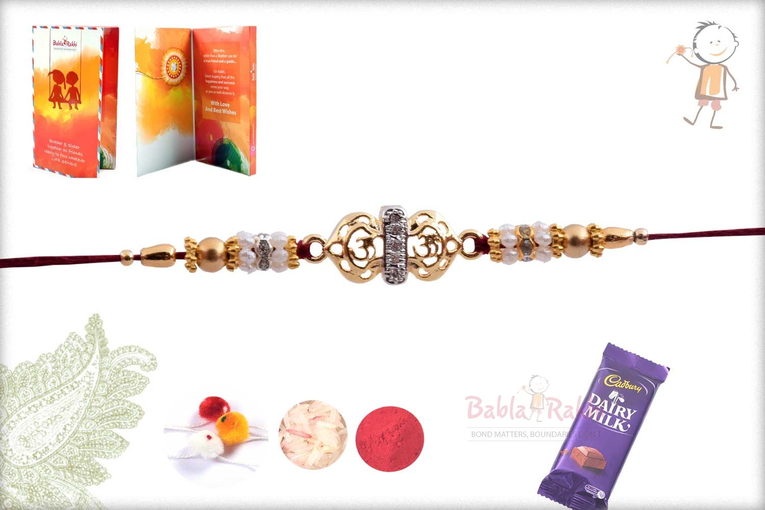 Exclusive Golden OM Rakhi with Pearl Rings 3