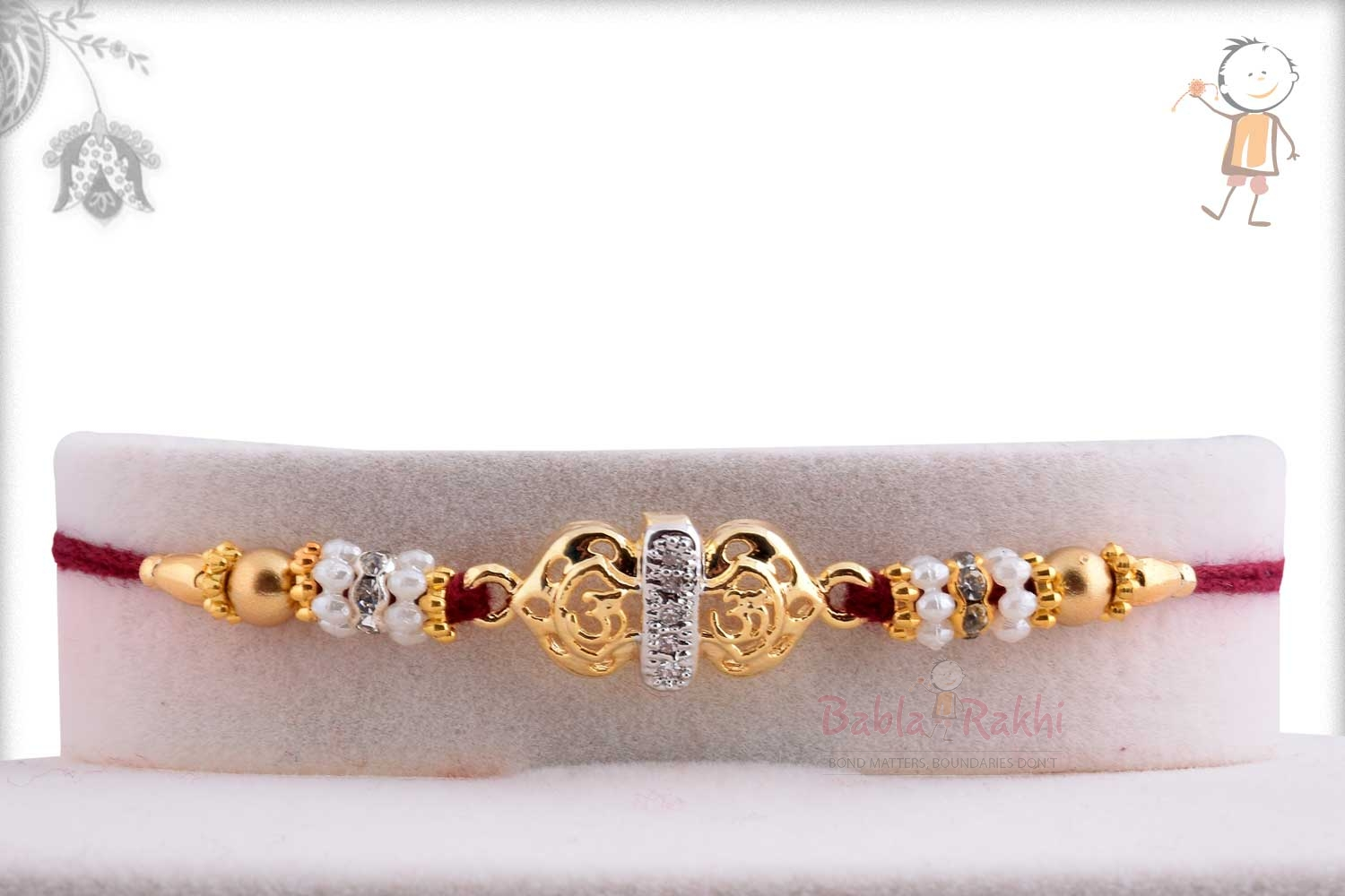 Exclusive Golden OM Rakhi with Pearl Rings 1