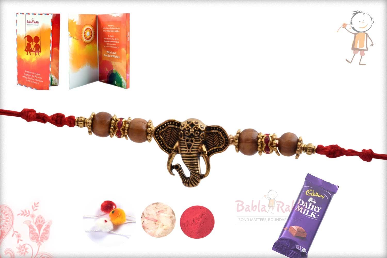 Exclusive Antique Ganpati Rakhi with Sandalwood Beads 2