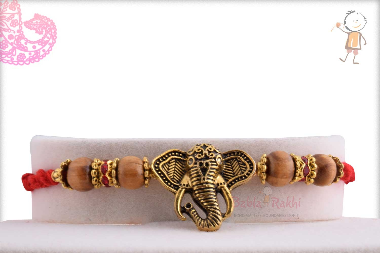 Exclusive Antique Ganpati Rakhi with Sandalwood Beads 1