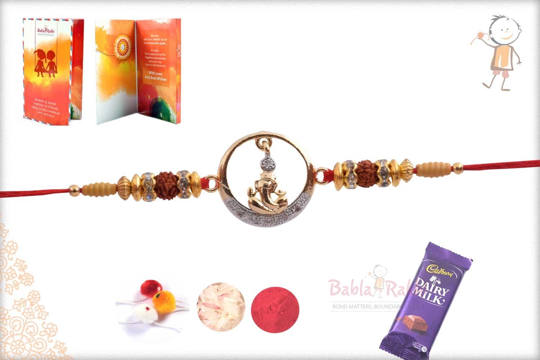 Exclusive Hanging Ganpati Rakhi with Diamond 3