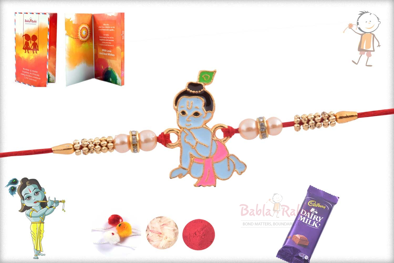 Exclusive Bal Krishna Kids Rakhi with Pearl 2