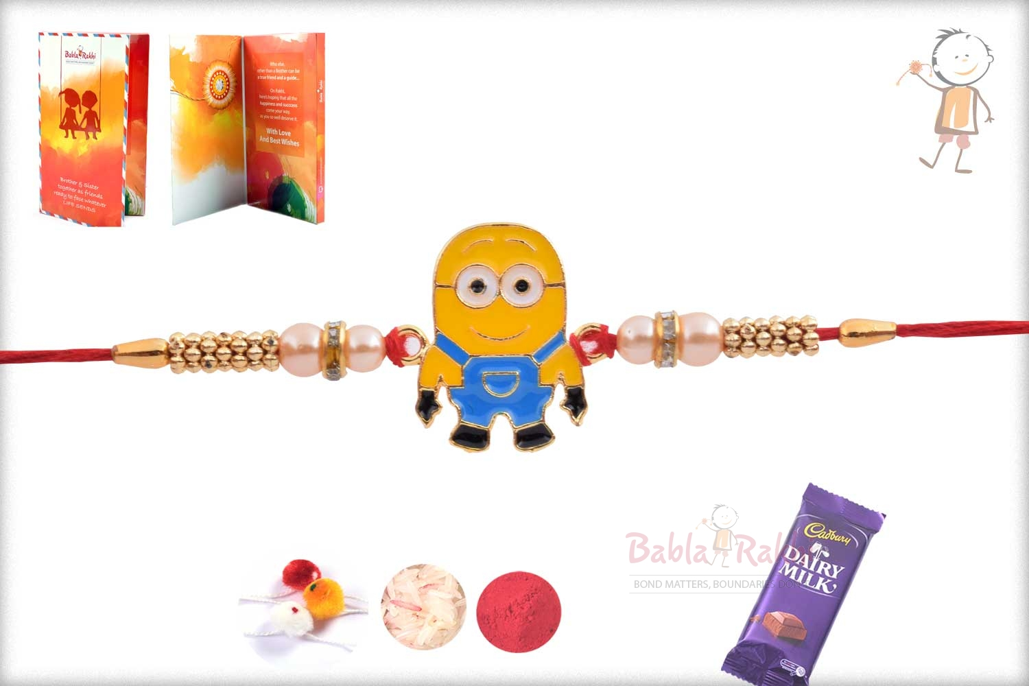 Exclusive Cute Minions Kids Rakhi with Pearl 2