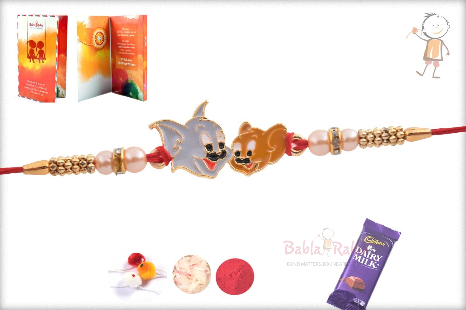 Exclusive Tom Jerry Kids Rakhi with Pearl 2