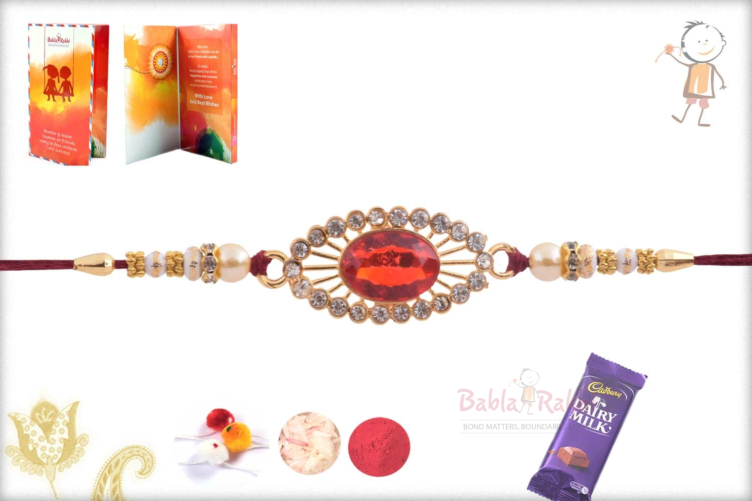 Exclusive Red Stone Rakhi with Pearl 2