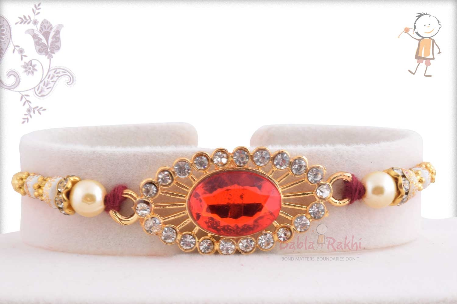 Exclusive Red Stone Rakhi with Pearl 1