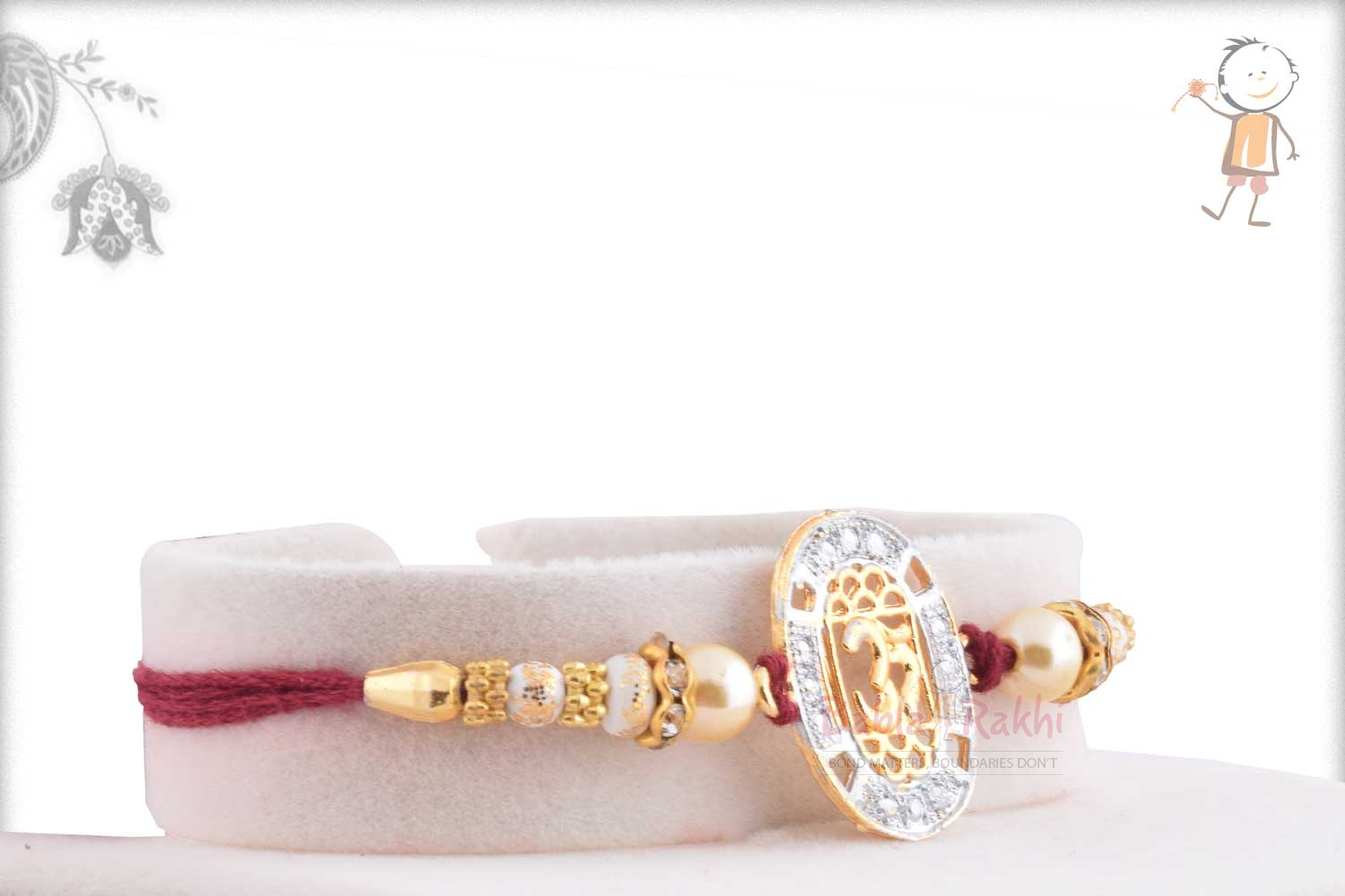 Exclusive OM Rakhi with Diamonds and Pearls 2