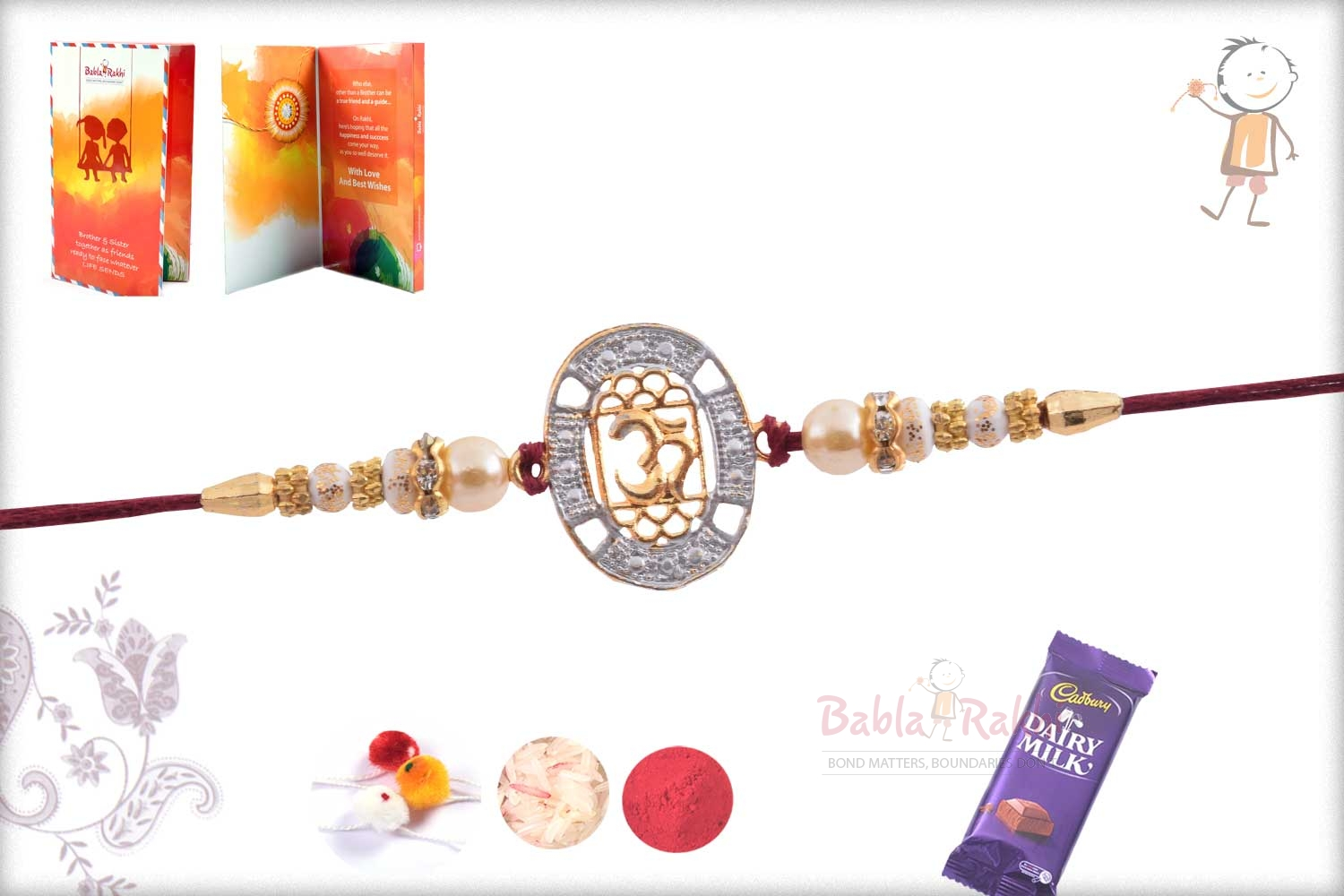 Exclusive OM Rakhi with Diamonds and Pearls 3