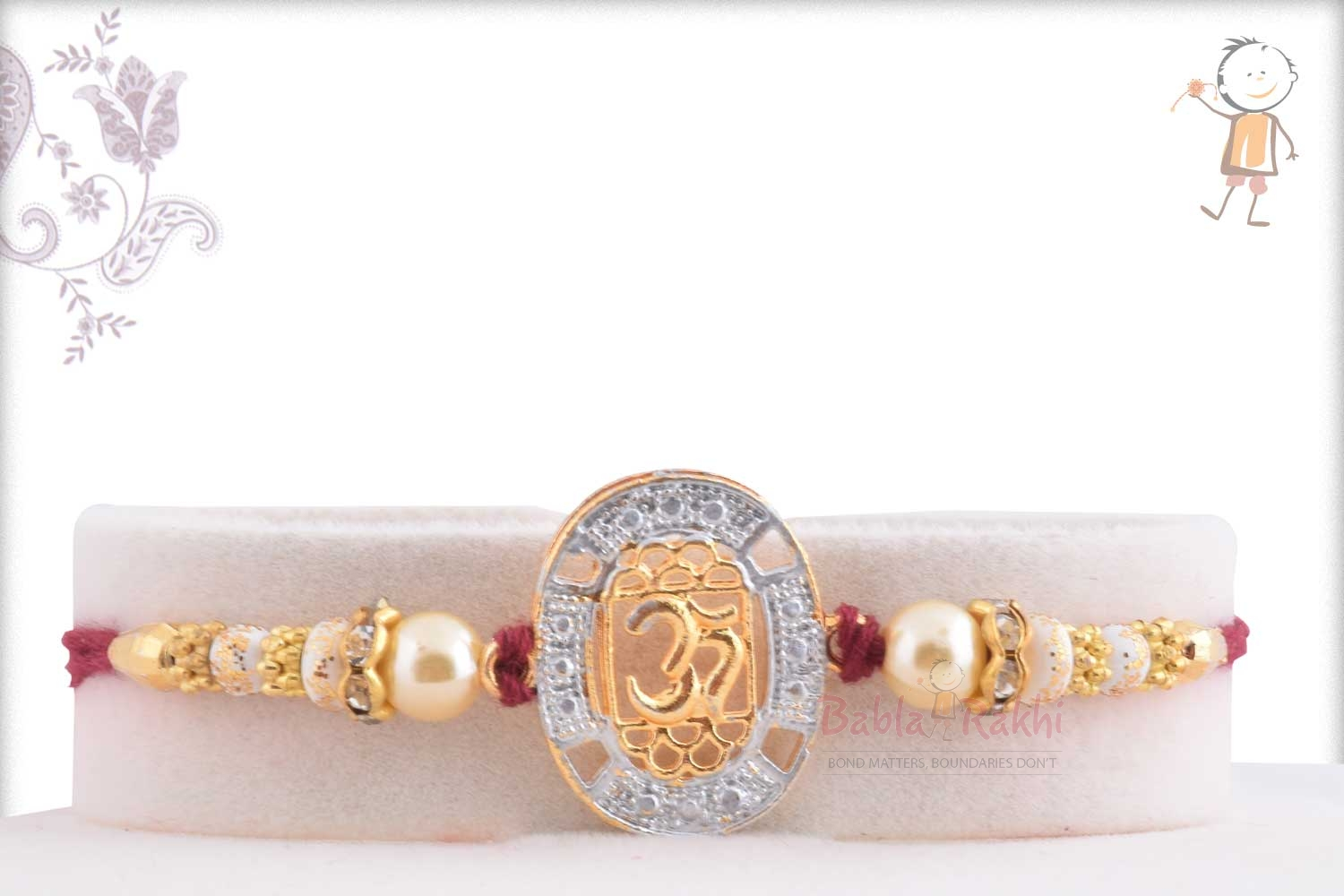 Exclusive OM Rakhi with Diamonds and Pearls 1