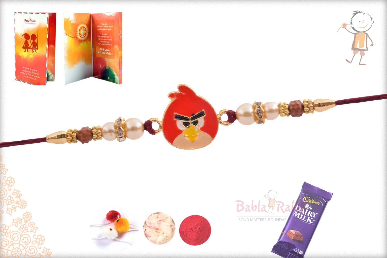 Exclusive Angry Bird Kids Rakhi with Pearl 2