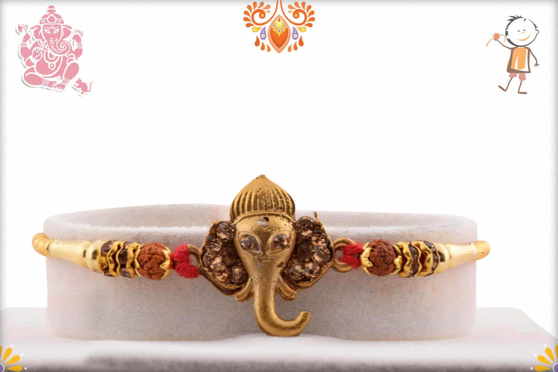 Golden Ganpati Rakhi with Diamonds and Rudraksh - Babla Rakhi