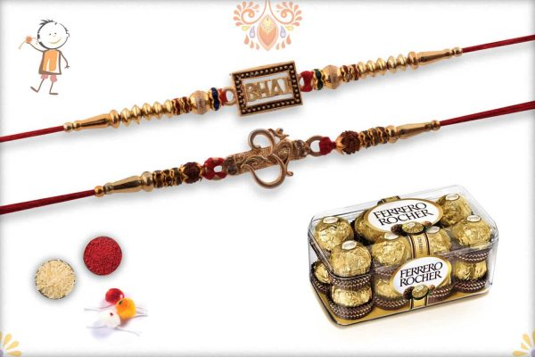 Two Set Rakhi with Ferrero Rocher (16) - Babla Rakhi