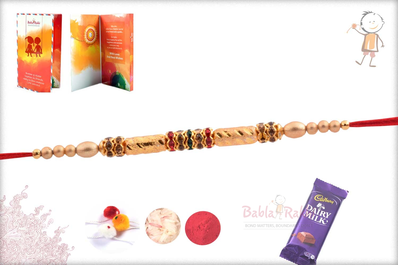Beautiful Golden Long Beads Rakhi with Diamond Rings 2