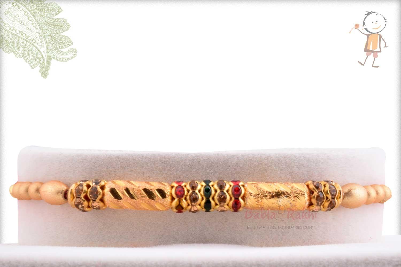 Beautiful Golden Long Beads Rakhi with Diamond Rings 1