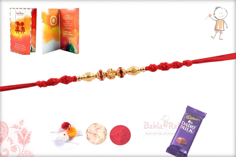 Golden Beads Rakhi with Red Diamond Rings 2