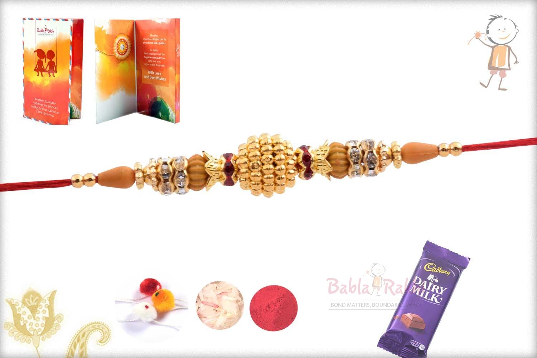 Exclusive Golden Bead Rakhi with Diamond Rings 3