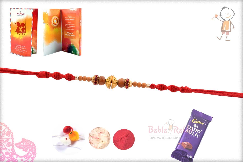 Designer Golden Beads Rakhi with Red Diamond Rings 2