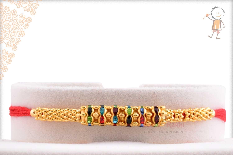 Multi-Color Diamond Rings Golden Rakhi 1
