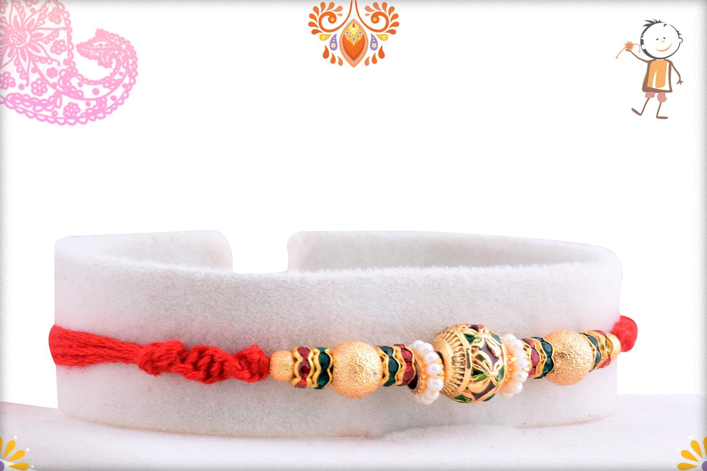 Golden Tripal Pearl Beads Rakhi 2