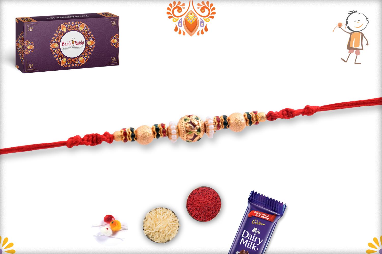 Golden Tripal Pearl Beads Rakhi 3