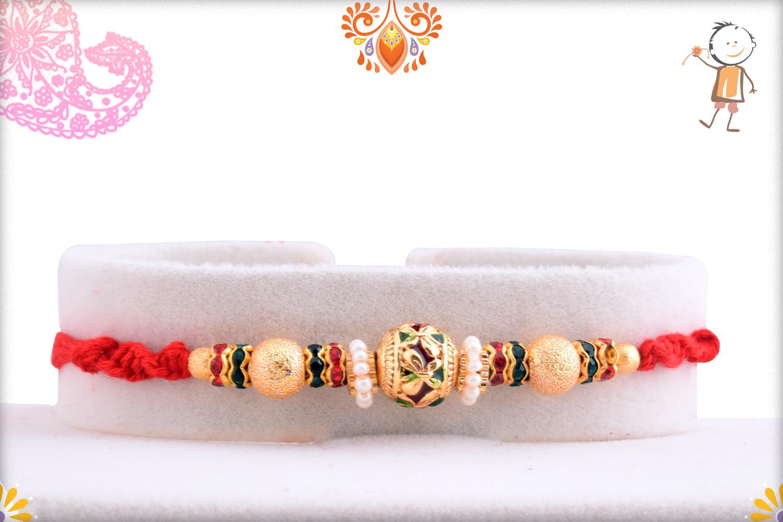 Golden Tripal Pearl Beads Rakhi 1
