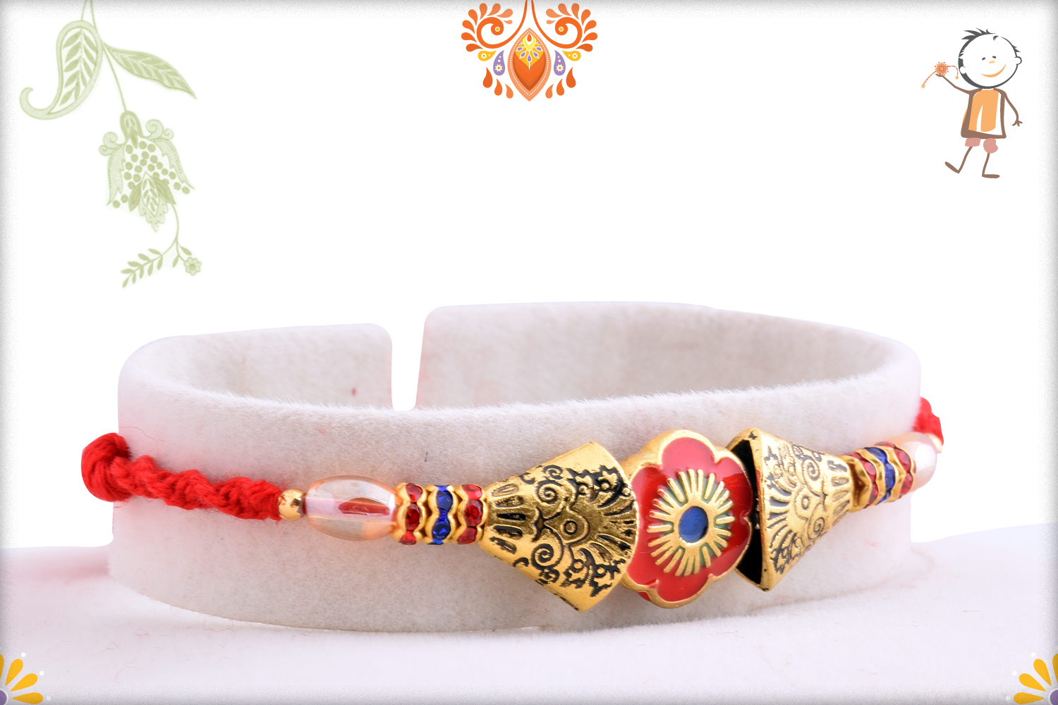 Classic Combination Of Gold And Red Rakhi 2