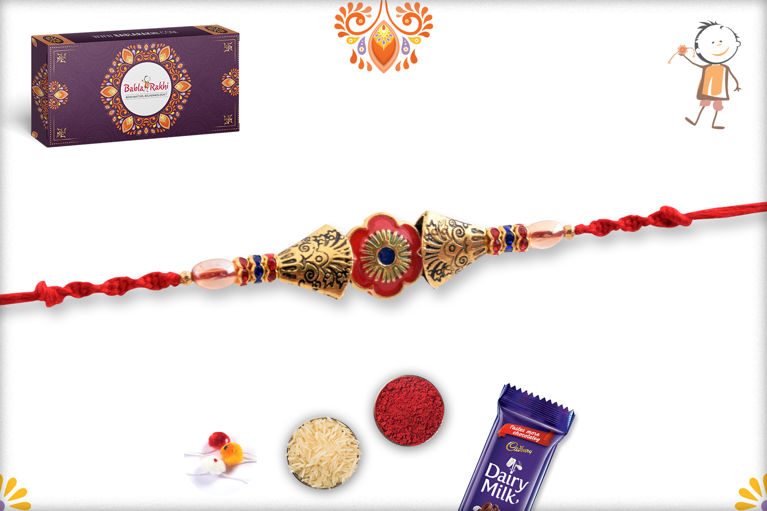 Classic Combination Of Gold And Red Rakhi 3