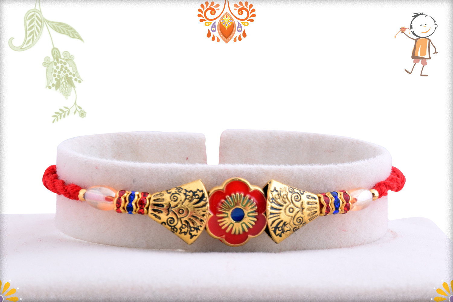 Classic Combination Of Gold And Red Rakhi 1