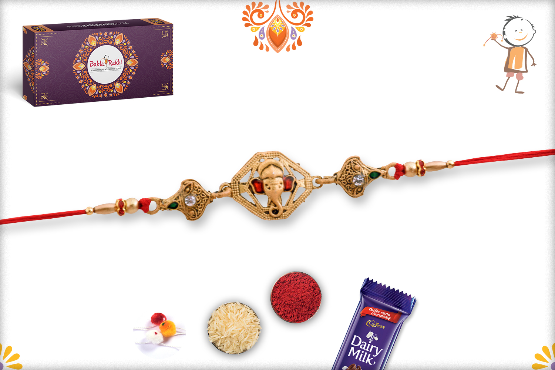 Unique Golden Ganesh Mukharvind Rakhi 3