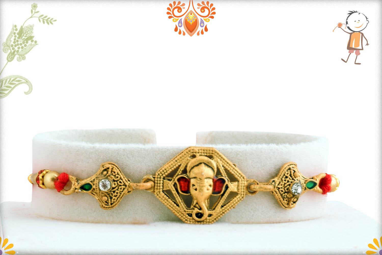 Unique Golden Ganesh Mukharvind Rakhi 1