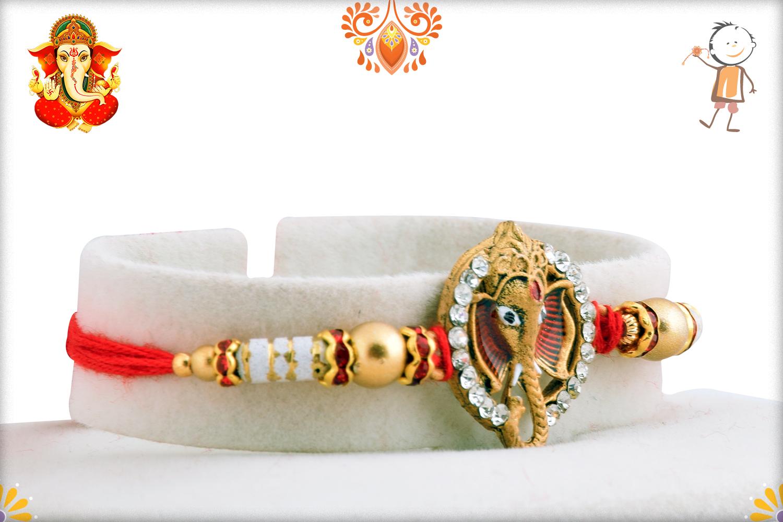 Unique Ganesh Mukharvind With Diamond Rakhi 2