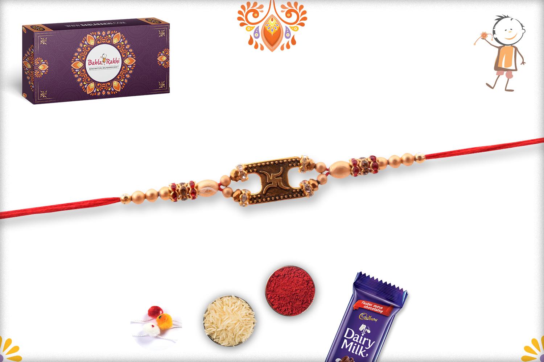 Antique Swastik With Gold Pearl Beads Rakhi 2