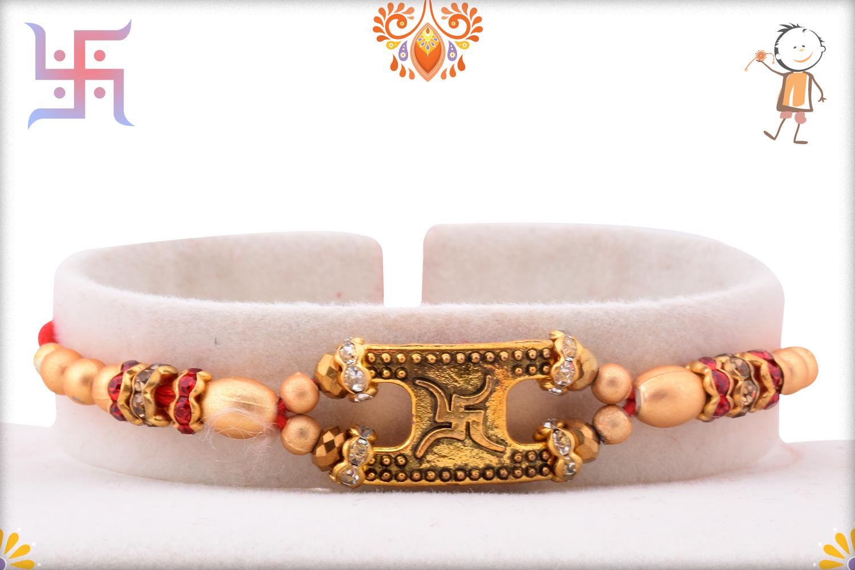 Antique Swastik With Gold Pearl Beads Rakhi 1