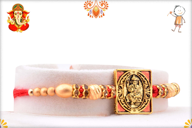 Exclusive Square Golden And Red Ganpati Rakhi 2