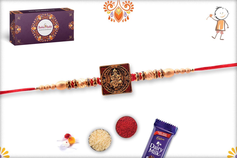Exclusive Square Golden And Red Ganpati Rakhi 3