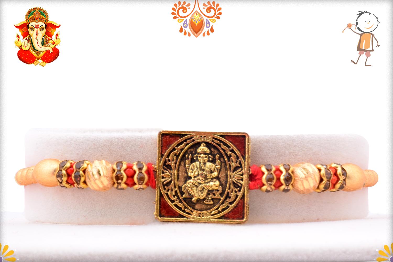 Exclusive Square Golden And Red Ganpati Rakhi 1