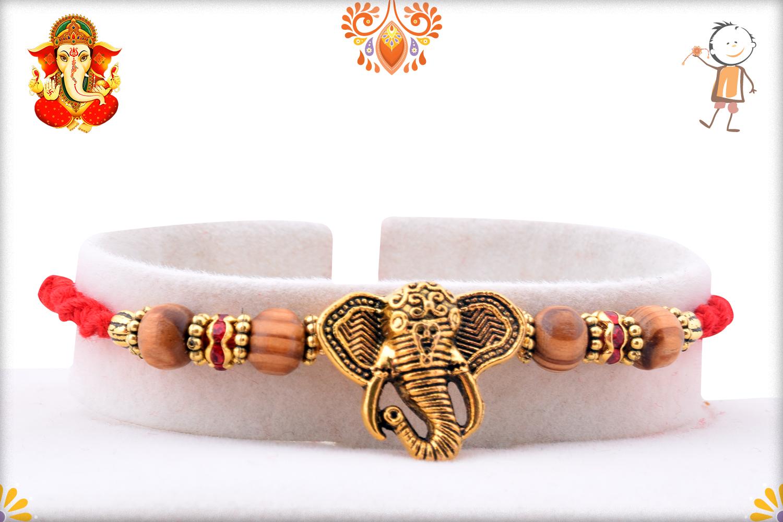 Eyecatching Golden Ganpati Mukharvind Rakhi 1