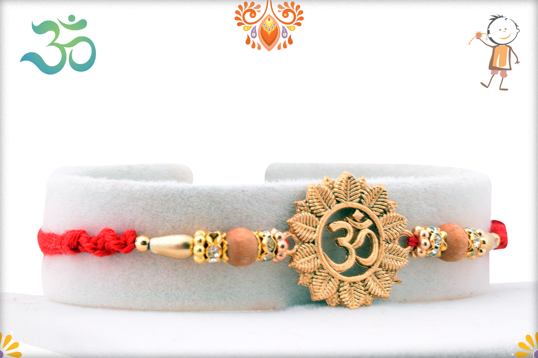 Golden Classic Flower With Om Rakhi 2
